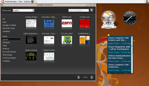 Google Gadgets for Linux Screenshot