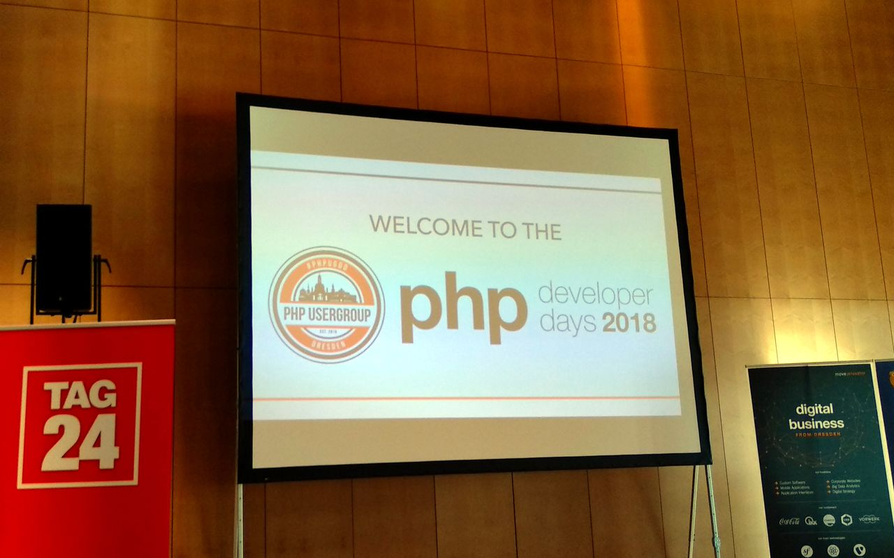 The PHPDD18 logo on a screen