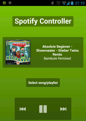 Screenshot der Spotify Controller App