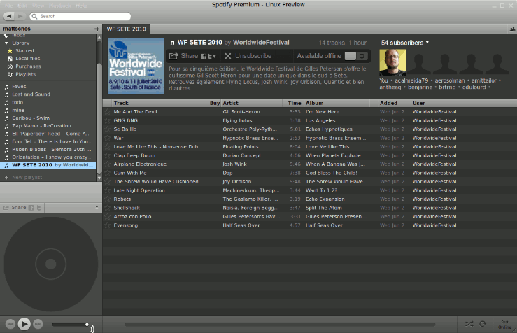 Screenshot des Spotify-Clients (skaliert)